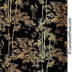 japonaise, arbre, modèle, vecteur, oiseau noir, or, chinois, bambou, conception, seamless, grue