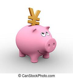 japonaise, banque, porcin