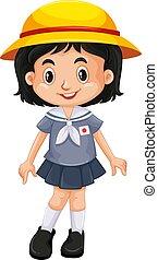 japonaise, girl, uniforme école