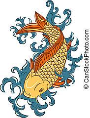 japonaise, koi, (carp, style, fish)