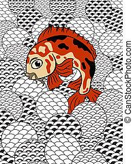 japonaise, koi, (carp, style, stylisé, fish), vagues