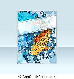 japonaise, koi, vecteur, (carp, style, fish), bannière
