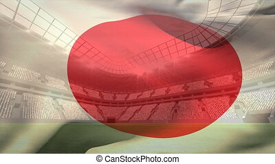 japonaise, stade, onduler, football