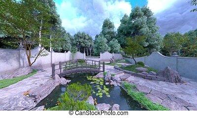jardin, 3d, japonaise, rendre