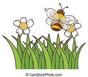 jardin, abeille, voler