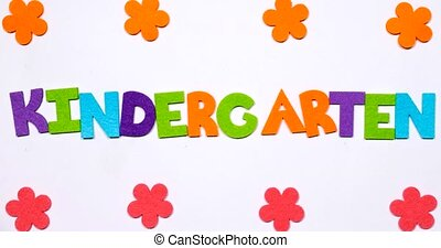jardin enfants, écrit, coloré, alphabet., mot, lettres, danse