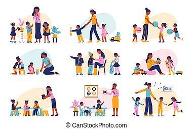 jardin enfants, ensemble, plat