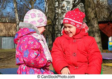 jardin enfants, filles