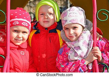 jardin enfants, garçon, filles