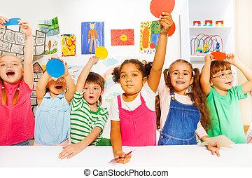 jardin enfants, grand groupe, genres, classe