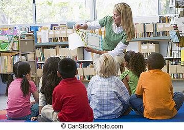 jardin enfants, lecture, enfants, bibliothèque, prof