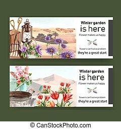 jardin, illustration., outils, désert, conception, aquarelle, bannière, fleurs, fleur