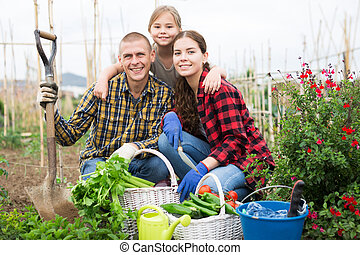 jardin, légume, récolte, famille heureuse