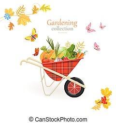 jardin, légumes, conception, retro, brouette, ton