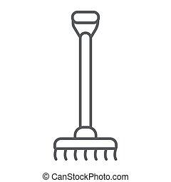 jardin, linéaire, arrière-plan., signe, modèle, râteau, instrument, vecteur, mince, graphiques, icône, ligne, agriculture, blanc