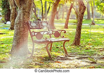 jardin, lumière, sous, arbre, banc, vert, soleil