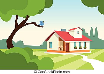 jardin, propriété, maison, moderne, grand, résidence
