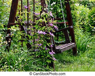 jardin, swing.