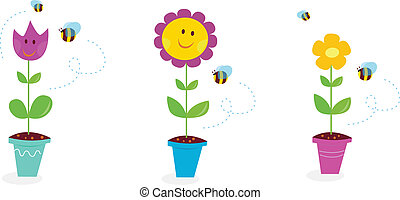jardin, tournesol, printemps, -, tulipe, pâquerette, fleurs