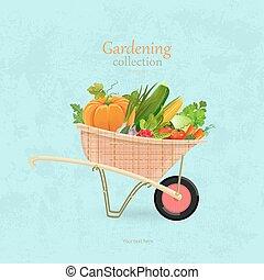 jardin, vendange, légumes, conception, brouette, ton