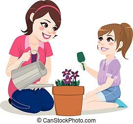 jardinage, fille, mère