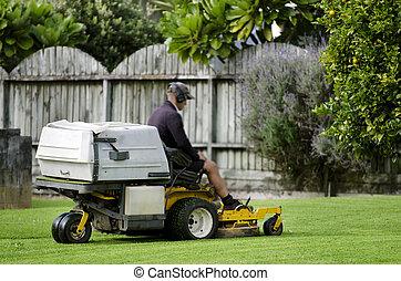 jardinage, pelouse, -, faucheur
