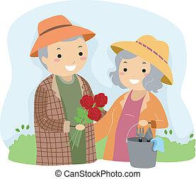 jardinage, personne agee, stickman, couple