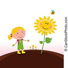 jardinier, jardinage, enfant, printemps, :
