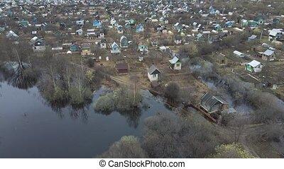 jardins, maisons, légume, inondé, jardin, printemps, aérien, au-dessous, inondation, vue