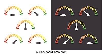 jauge, élément, infographic, mètre, signes