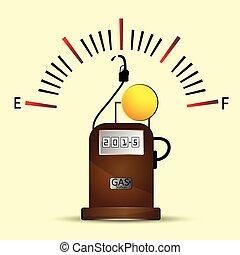 jauge, combustible, station, essence