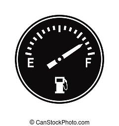 jauge, icône, carburant