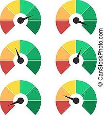 jauge, mesurer, compteur vitesse, ou, infographic, mètre, éléments, signes, ensemble, classement, icons.