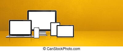 jaune, bannière, téléphone, tablette, mobile, ordinateur portable, informatique, pc., numérique