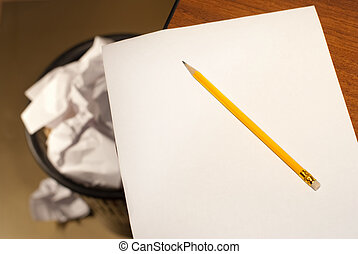 jaune, blanc, papier, crayon