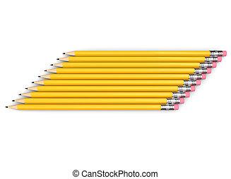 jaune, côté, crayons, groupe, empilé, graphite, neatly