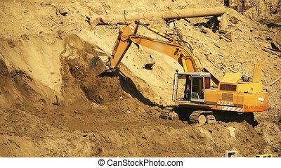 jaune, construction, fonctionnement, excavateur, site