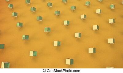 jaune, cubes, fond, en mouvement, 3d
