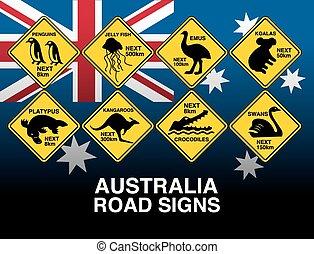 jaune, drapeau, prévenant signes, australien, route