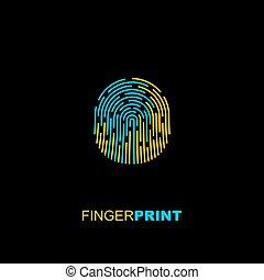 jaune, empreinte doigt, bleu, icône