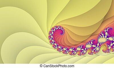jaune, fractal, spirale, fond