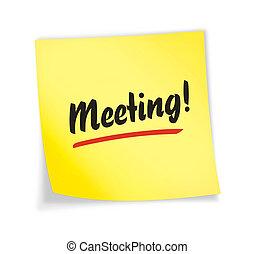 "jaune, ""meeting"", note, collant"