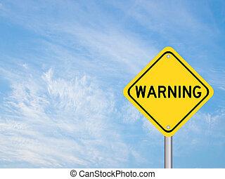 jaune, mot, couleur, ciel, panneau avertissement, nuage, fond, transport, bleu