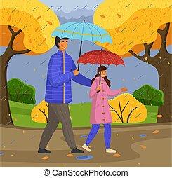 jaune, mouvement, rue, fille, octobre, père, dépenser, pluvieux, temps, arbres, ensemble, jour, bas, passé