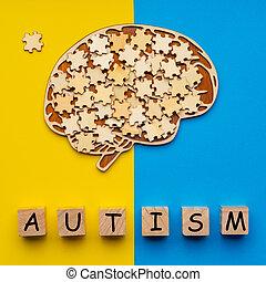 jaune, railler, morceaux, cerveau, dispersé, bleu, six, arrière-plan., inscription, autism., puzzle, haut, humain, cubes