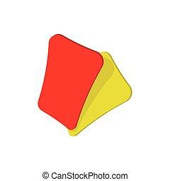 jaune, rouges, football, dessin animé, carte, icône
