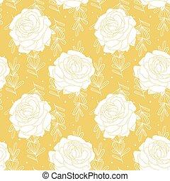 jaune, seamless, roses, modèle, fond