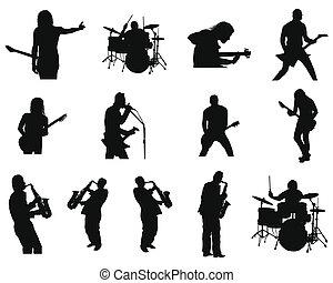jazz, ensemble, silhouettes, rocher