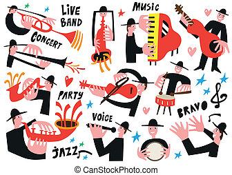 jazz, vecteur, -, illustration, musiciens
