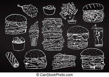 jeûne, ensemble, vecteur, nourriture., main, dessiné